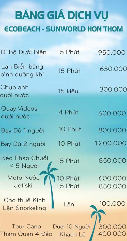 bảng giá dịch vụ bãi trào